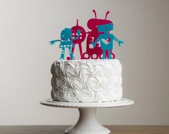 Birthday Robots Cake Topper Stencil Set  UK MADE Worldwide shipping