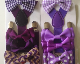 Plum Bow tie suspenders Purple Baby bowtie Plaid Boys Bow ties Toddler Necktie Plum Mens bowties Rustic Wedding Ring Bearer Outfit Groomsmen