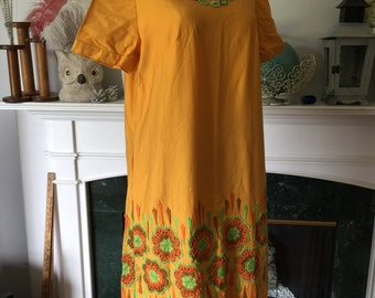 60s Yellow Embroidered Linen Day Dress