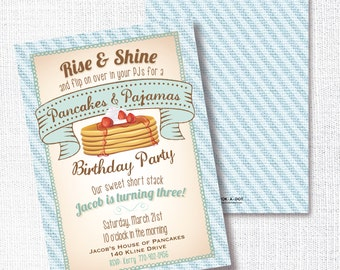 Pancakes And Pajamas Birthday Party Invitation, Printable, Rise and Shine Invite, 1st, First, 2nd, Breakfast Birthday, PJ Birthday, Boy