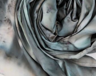 Large organic cotton satin scarf- beach scarf-traveling scarf-traveling oversized scarf-hand colored scarf-black white grey/NIGHT