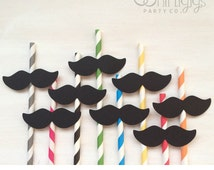 12 Mustache Straws - Assembled Handlebar Mustache Straw for baby shower, gender reveal, mustache party, wedding, 1st birthday, Little man,