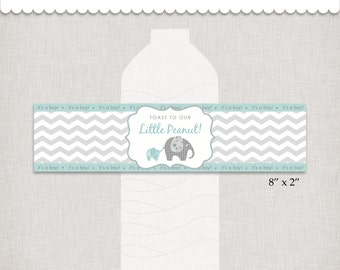 Little Peanut Bottle Wrappers, Elephant Baby Shower, DIY Elephant Wrappers, INSTANT DOWNLOAD