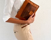 Brown leather clutch / Leather clutch purse / Brown leather purse / Brown wrislet clutch / Brown leather pouch / Evening leather bag