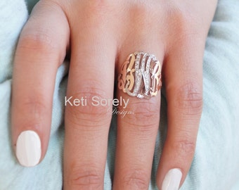 Diamond Monogram Ring  - Two Tone Monogram Ring, Initials Ring With Diamonds - Personalize It With Your Initials, in Yellow or Rose Gold