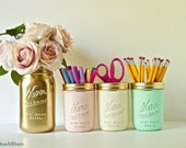 Dorm Decor - Home Office Decor - Painted Mason Jar - Pencil Holder - Vase Pink Mint Cream Gold Copper Grey Rose gold