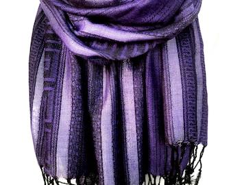 Purple Indigo Scarf. Metallic Scarf. Eggplant Winter Scarf. Meander Pattern. Sparkling Silver Stripes. Woman Gift. 27x68in. Ready2Ship