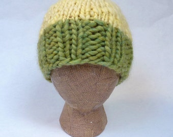 Butter and Celery -- warm and stylish, hand-knit, 100% wool hat