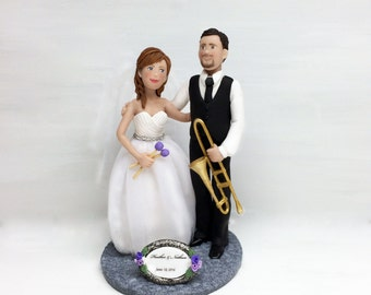 Cake Toppers for Weddings * Bride and Groom Music themed Cake Topper