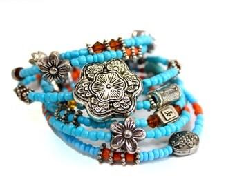 Jewellery, Bracelet, Charm Bracelet, Turquoise Bracelet, Earthy jewelry, Layered Bracelet, Bohemian fashion, Stacked bracelet, blue, orange