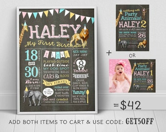 1st birthday chalkboard - Party Animals first birthday poster to match Party animals invitation (sold separately) - u print chalkboard sign