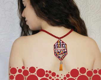 Pomegranate's Laughter Leather Necklace with Orange Tassel