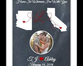 Valentines Gift For Boyfriend Valentines Day Gift, Long Distance Relationship Gift, Valentines Gift, Girlfriend Valentine Gift, Love Map