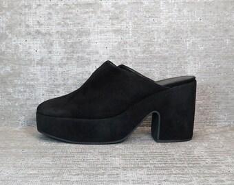 Vtg 90s Black Suede Chunky Platform Clogs Mules 8