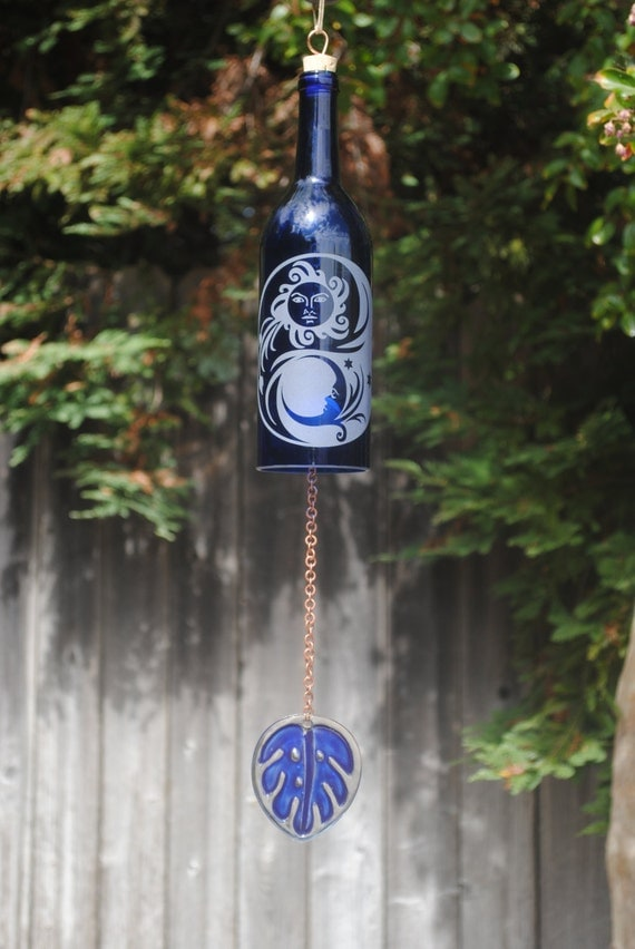 Sun moon ying yang wine bottle windchime glass garden art Sun garden riesling