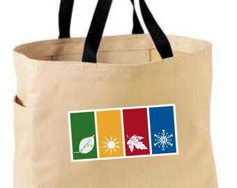 Four seasons tote bag - seasons gardening gift - polyester tote bag - spring/summer/fall/autumn winter bag - original design seasons bag