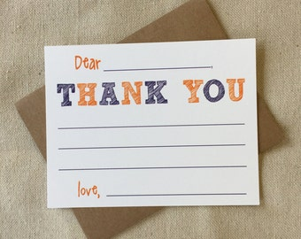 CF801 - boy fill-in thank you - set of 8 with KRAFT envelopes