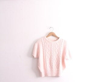 Pastel Pink Cable Knit Sweater
