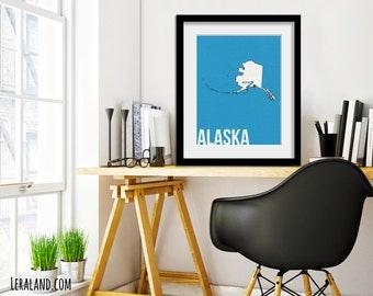 I love Anchorage, Alaska, AK, 11x14 or 8x10, customizable city, I heart pop art poster, digital art print, modern home decor state art