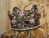 Embellished Metal crown, crown decor, tiara, Mediterranea Design Studio, black crown, embellished crown, distressed crown, crown cake topper