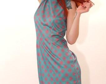 Vintage 70s Blue and Pink Diamond Print Mini Sun Dress Lolita Sun dress