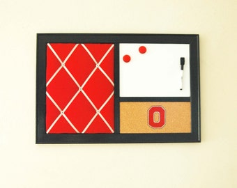 Ohio State  French Memo Board, Corkboard Bulletin Board & Whiteboard Dry Erase  Wall Organizer Dorm Decor
