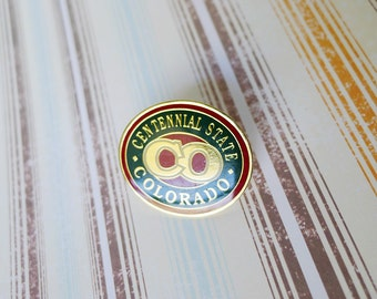 Colorado Pin, Centennial State, Cloisonne Enamel, Brass Pin, Colorado Jewelry, Colorado Hat Pin, Red Green Cream, Polished State Pin