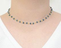 Dainty Midnight Blue Gemstone Chain Choker - Rosary Choker - Beaded Choker