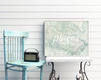 PRINTABLE World Map Art - Oh, the places you'll go - Horizontal Art Print - Graduation Gift - Nursery Decor - Inspirational - SKU:270