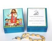 Jesus with children Wooden keepsake box Jesus print First Communion favors Rosary box Prayer card Rosary favors Baptism favors for girls