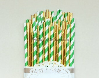 Green Striped, Solid Gold Foil Straws, Starbucks, Baby Shower, Jungle First Birthday, Emerald Wedding Decoration, Pineapple Theme, Crocodile