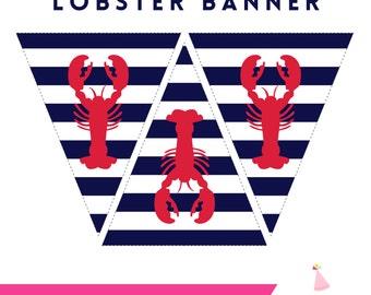 Lobster Party Banner - Lobster Printable Banner - Lobster Bake Party Banner - INSTANT DOWNLOAD