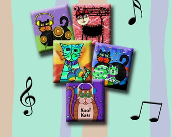 COOL CATS - Digital Collage Sheet .75 x .83 inch scrabble images for pendants, earrings, decoupage, magnets etc. Instant Download #235.