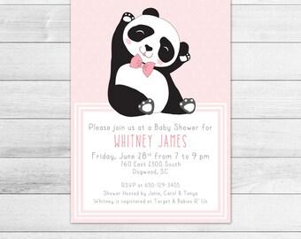 Dapper Panda Baby Shower Invitation, Girl Digital Printable Invite, Hipster, Fashionable