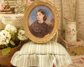 Miniature Oval frame aged gold, Portrait of lady in black 19th, French dollhouse collectible accessory, 1:12th scale