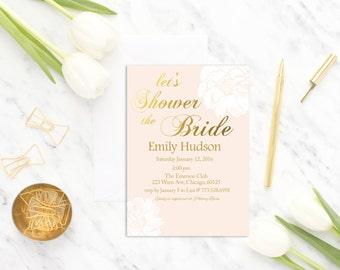 PinkFloral Bridal Shower Invitation Printable, Pink Bridal Shower Invitation, Gold and Pink, Bridal Shower Invitation, Wedding Shower Invite