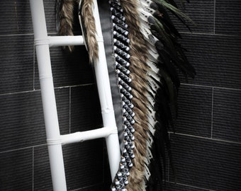 Extra Large Indian black and white double Feather Headdress (43 inch long )