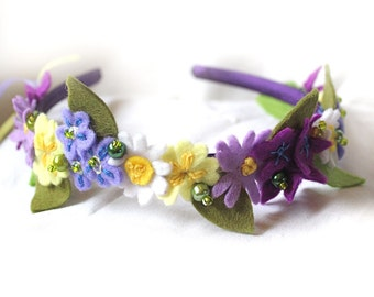 Wedding Headband, Spring Flower Headpiece, Bridesmaid Hair Band with Wild Primrose, Forget Me Not, Daisy, Woodland Violet, Felt Head Band