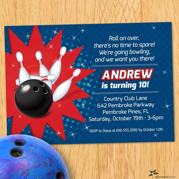 Kids red and blue bowling birthday party invitation printable il570xn filmwisefo Image collections