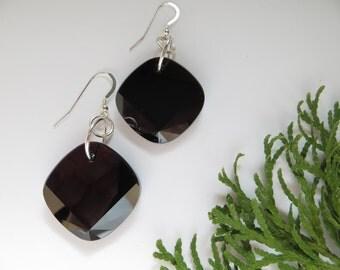 Swarovski Crystal earrings, Swarovski earrings, Jet Black earrings, Statement earrings, Large Modern earrings, Sterling Silver earrings