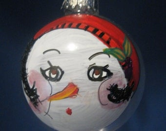 "Glass Christmas ORNAMENT--Hand-painted Snowman ""Chloe Cloche"" 1008"