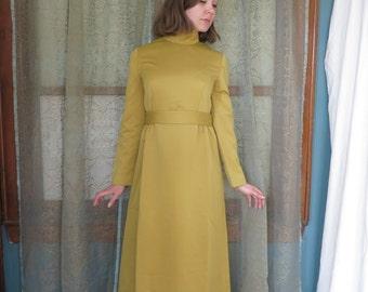 1960s Golden Rod Maxi Dress Vintage Hostess Dress Mustard Yellow Gown 60s Handmade Gown 60s Bow Dress 60s Mod Dress Mock Turtleneck