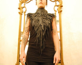 Rubber Feather Neckpiece made from Recycled Bike Tire Inner Tubes