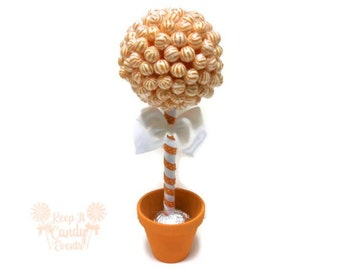 Orange Lollipop Topiary, Orange Candy Topiary, Orange Centerpiece, Fall Wedding Ideas for Centerpieces, orange sweet sixteen candy table