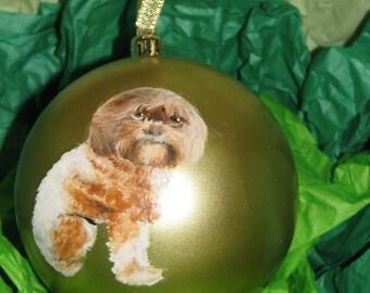 Custom Pet Portrait Painting on 3.25 inch gold ornament