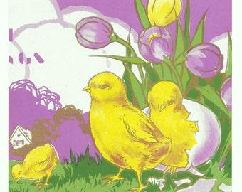 Large Easter Chicks Sheet, c. 1950