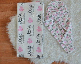Personalized baby name leggings, blanket, and baby bow hat: newborn gift set baby customized name leggings baby gift