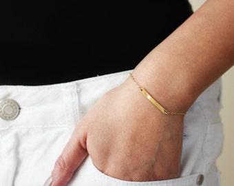 Small Skinny Name Bar Bracelet / Personalized Name Plate Bracelet / Gold Filled or Sterling Silver