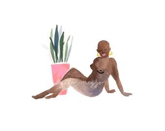Lady+Plant 1 Art Print