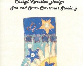 Christmas Stocking - Sun and Stars - Wool Felt Sewing Pattern - Cheryl Kerestes Design